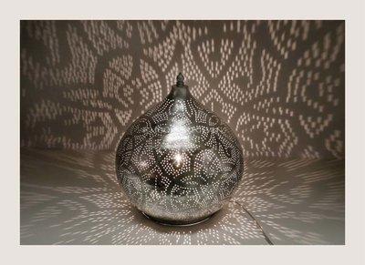 Filigrain tafellamp Agra zilver